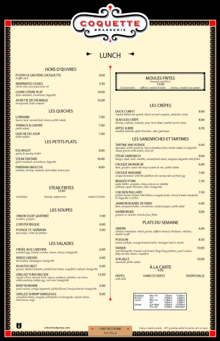 Lunch menu.  Click for full-sized image.